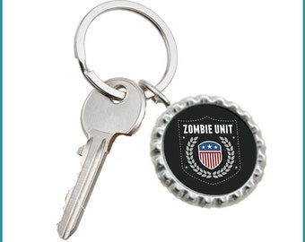 Zombie Unit Bottle Cap Keyring
