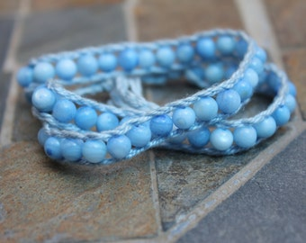 double wrapped blue bracelet