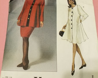 1992 Vogue 2969 Maternity Dress, Tunic and Skirt Size 12-14-16