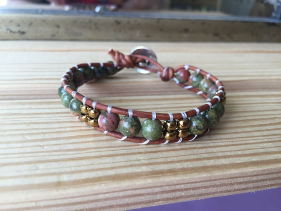 Earth tones with bronze accent beads, single wrap bracelet, green, bronze, stackable, gift