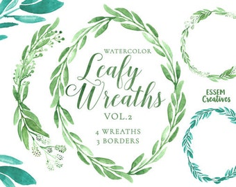 Eucalyptus Watercolor Wreath Clipart, Green Leaves, Rustic Green Floral Wreath, Watercolour background, Garden wedding clipart, olive wreath