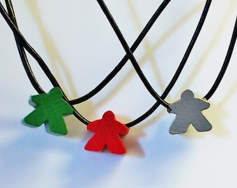 "meeple necklace wooden Carcassonne style meeple strung on a 24"" 2mm leather string"