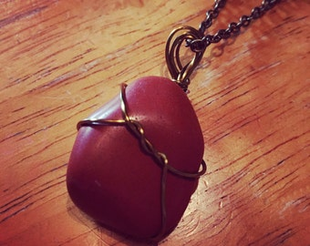 Red Smooth Stone Necklace