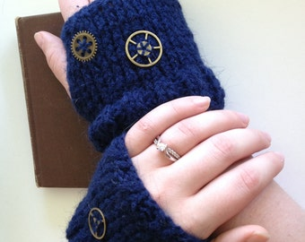Blue fingerless knitted steampunk gloves