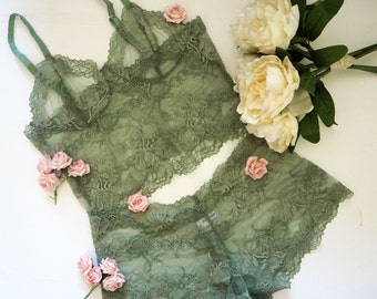 Olive green floral sheer bralette and French knicker set