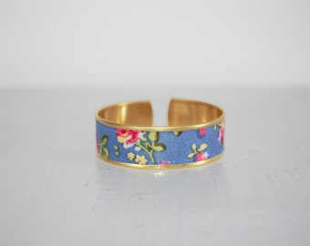 Blue fabric Cuff Bracelet with flowers