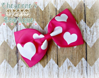 Pink Hearts Hair Bow