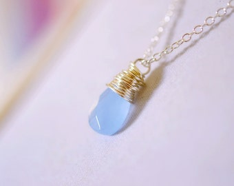 Serenity Blue Necklace, Dusk Blue Opal Jewelry, Cornflower Denim Blue Wire Wrap Jewelry, Periwinkle Twilight Necklace