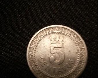 1911 5 centavos coin