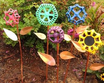 Valve Handle Flowers, Garden Art