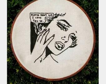 """Lichtenstein/Alt-j inspired hand embroidered illustration hoop art (8""""hoop)"""