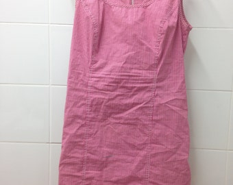 pink and white chequered dress