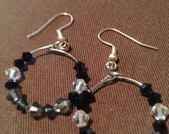 Black & white bead hoop earrings