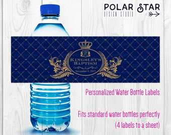 Crown Royal - Water Bottle Labels - Personalized Coat Of Arms - Any background color available now! - Printable Digital File