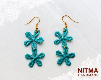 vintage lace earring - capri sea color-little flower ,vintage style