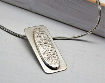 Fine Silver Leaf on Sterling Silver Tag Pendant