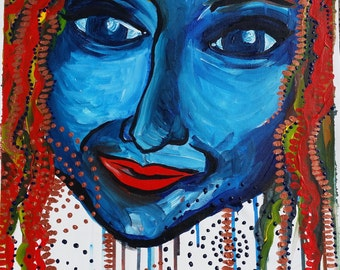 Colourful Modern Painting of woman's face on A2 Canvas sheet.  Unframed and unbound.