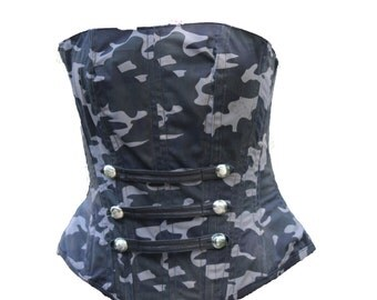 Metal Boned Camouflage Fabric Bodice