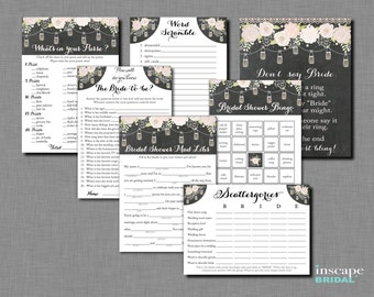 7-Games MEGA Bundle, Rustic Bridal Shower Games, Country Bridal Shower Games, Mason Jars Games, Bingo, Mad Libs, How Well do you know bride