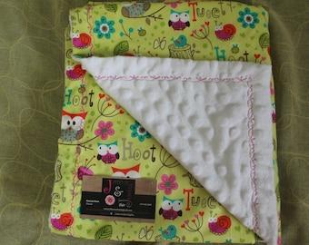 Owl and Minky Baby Blanket