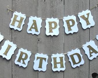 Happy Birthday banner, Birthday banner, Personalized name birthday banner, White and gold birthday banner, White and Gold party sign