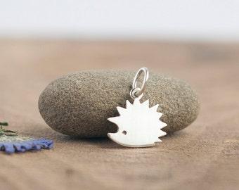 Silver Hedgehog Pendant Necklace - Fine Silver Hedgehog - Tiny hedgehog necklace