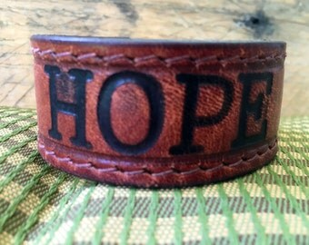 Leather HOPE bracelet