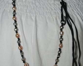 Gray and Mauve Pearl and black Deerskin Leather necklace