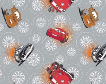 Disney Cars Wheels in Stone Fabric From Camelot