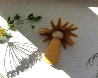 Sunflower Fairy Peg Doll