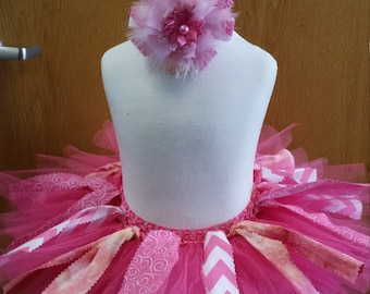 Pink Fabric and Tulle Tutu with Matching Headband