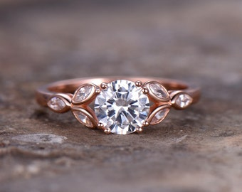 6.5mm Round Cut 1ct Engagement ring,925 sterling silver wedding band,rose gold plated,8-prongs CZ Bridal ring,Retro vintage,marquise bezel