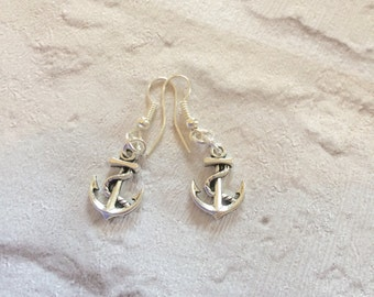 Silver Anchor Earrings, Silver Earrings, Nautical Earrings, Maritime Earrings, Anchor Earrings, Rockabilly Earrings, Silver Drop  Earrings.