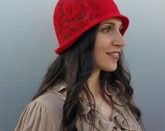 Felt hat, felt cloche hat, hat hand 20 years pure merino wool, vintage hat, Conny