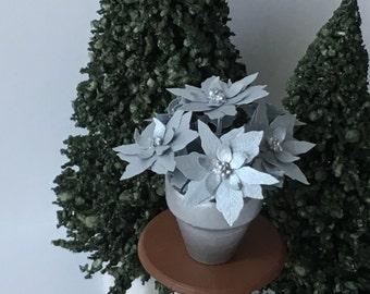 Dollhouse Miniature Poinsettia Silver Metallic Artist Made
