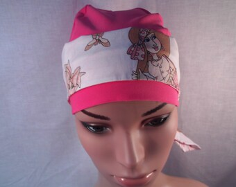 Breast cancer cap and scarf snug fit cap two side scarf.