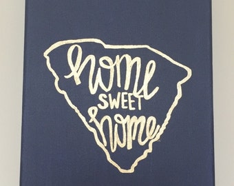 State Outline Home Sweet Home canvas