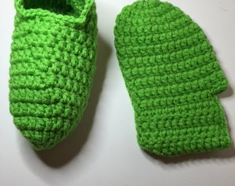 Bright Green Handmade Warm & Cozy Crochet footies