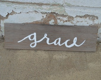 Grace Hand-Painted Wood Sign