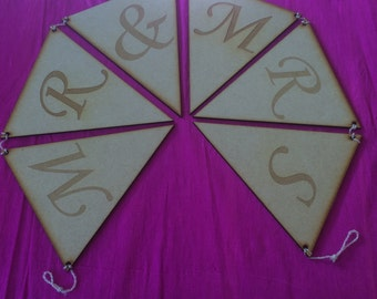 Mr & Mrs laser cut and engraved MDF bunting