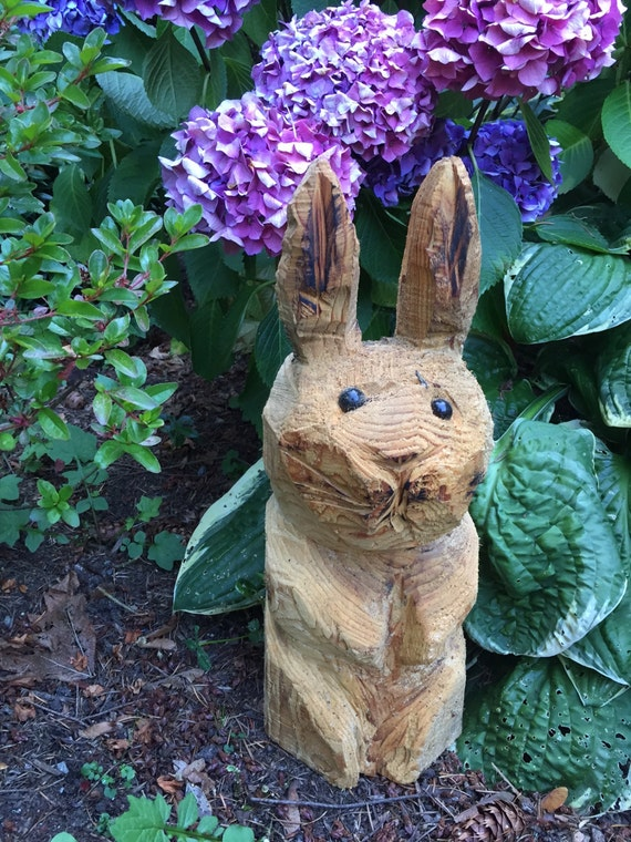 Bunny chainsaw wood sculpture custom