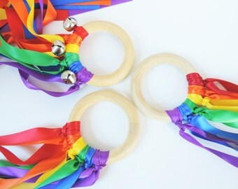 Waldorf Hand Kite - Rainbow - Color Learning - Ribbon Kite - Sensory Toy - Dancing Ribbons - Rainbow Party Favors