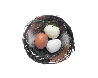 Birds Nest with Eggs 2 Pack Natural (10cmD)