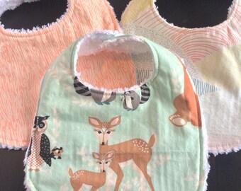 Baby Bibs, Chenille Baby Bibs,  Woodland Motif, Set of 3, Deer, Bark, Hills