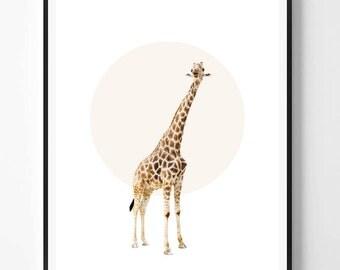 Giraffe Print, Giraffe Wall Art, Giraffe, Animal print, Minimal decor, Nursery art, Kids, Minimal Print, Scandinavian Printable Art, Modern