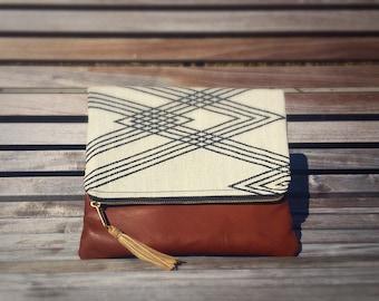 Blu Clutch: Mod fabric with Cognac Leather