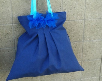 Blue Pleated Cotton Bag with Tulle Ruffles