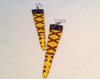 Yellow Printed Earrings