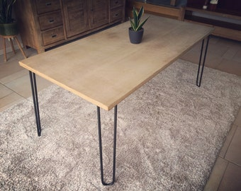 Oak dining table--upcycling--hairpin legs