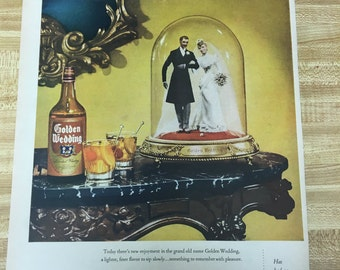 Golden Wedding Whiskey Vintage Ad 1940's.  Likely 1945